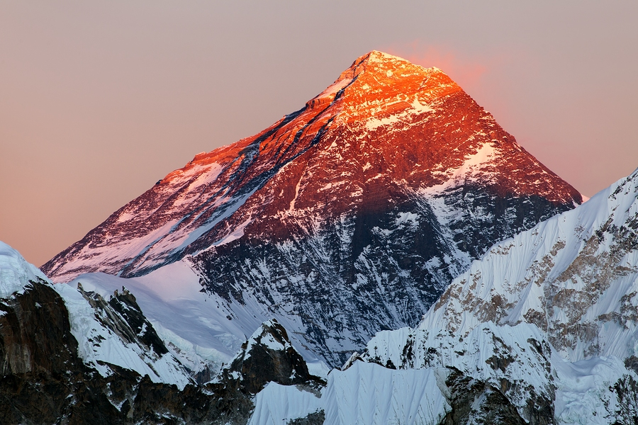 Evening view of Mount Everest from gokyo valley way to Mount Everest base camp Sagarmatha national park Khumbu Nepal